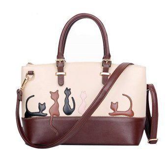 Women Cat Pattern Contrast Color Handbags Shoulder Bags - Intl