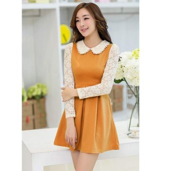 Cyber Stylish Lady Women Sweet Doll Collar Long Sleeve Lace Floral Patchwork Casual Party Slim Pleated Dress ( Orange ) - intl