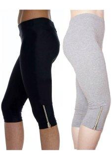 Bộ 2 quần lửng nữ dài ¾ chun co dãn SoYoung 2WM CROPPED PANT 003 ZIP B G (Đen Ghi)
