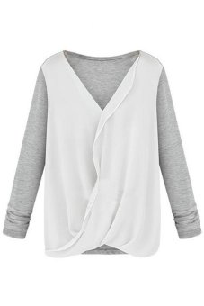 Women's V Neck Long Sleeve Chiffon Joint T Grey - Intl