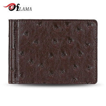 FLAMA Stylish PU Leather Press Print Cash Clip Small Card Wallet For Men(Coffee) - intl