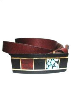Thắt lưng da bò mặt gỗ kết hợp với kim đồng và turquoise CoCo Design
