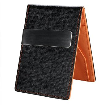 Linemart New Fashion Korean Style High Quality Men Mini Money Wallet With Clip ( Orange ) - intl