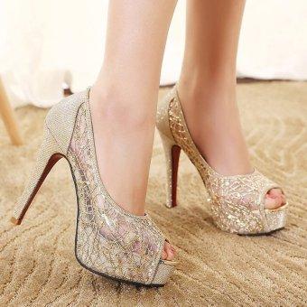Giày cao gót hở mũi G43 (Vàng ánh kim)