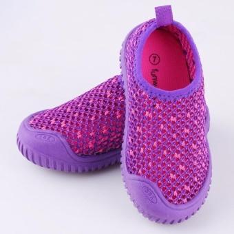 Children Boys Girls Kids Casual Breathable Mesh Shoesanti-Skid Sports Shoes Sneakers (Purple) - intl