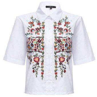 Retro Turn-down Collar Embroidery Blouse - intl