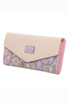 Bluelans Women Trifold Envelope Faux Leather Wallet Button Purse Zip Bag Purple (Intl)