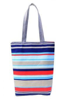HKS Lady Fine Lines Shopping Handbag Shoulder Canvas Bag Tote Purse Multicolor - intl