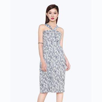 Đầm Vintage Xếp Ly Hoa Thời Trang Eden (Nền trắng họa tiết hình tròn)