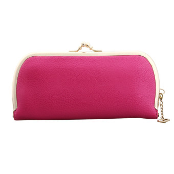 Women Candy Colored Retro Clutch Wallet Hot pink - Intl