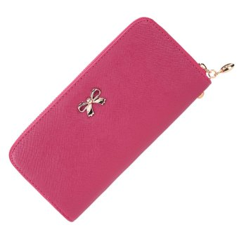Cyber Women Fashion Synthetic Leather Zip Around Solid Purse Credit ID Card Holder Long Clutch Wallet with Wrist Strap (Rose Red) - Intl