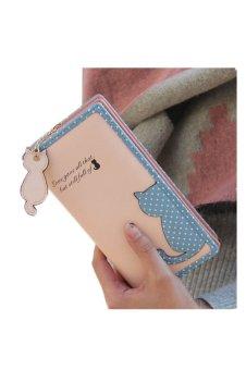 Fashion Women Cat Purse Long Wallet (Pink)