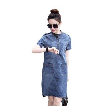Mua Đầm jean wat đá cổ trụ cao cấp BeYeu1688 - BY3110 giá tốt nhất
