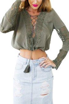 YOINS Fashion Women Lace Up Flare Sleeve Chiffon Blouse Tops Sexy Lace Patchwork Hollow Shirt Blusas Femininas XS-XXL - intl