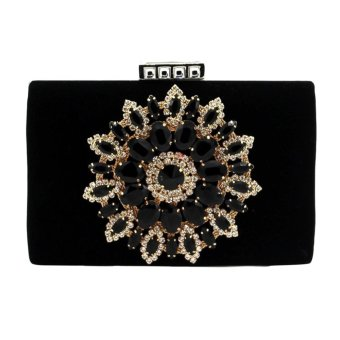 BolehDeals Women Glitter Crystal Evening Clutch Party Wedding Handbag Black - intl