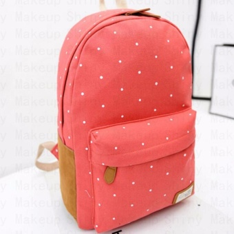 Canvas School Bag Backpack(Red) - intl