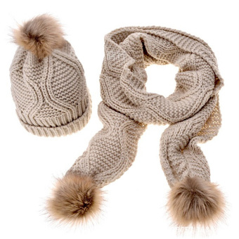 2 PCS Women Woolen Yarn Knit Cuffed Ski Winter Warm Fur Ball Design Hat Scarf Kit Beige White - intl