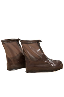 1 Pair Unisex PVC Coffee Reusable Washable Non-slip Waterproof Rain Shoe Covers Overshoes for Flats Low-heeled Shoes - intl