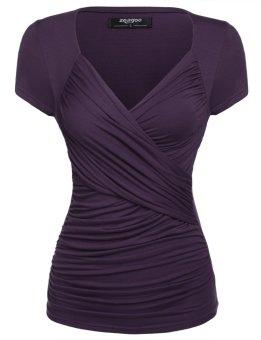Linemart Zeagoo Women Crossover V-Neck Short Sleeve Ruched Blouse Tops ( Purple ) - intl