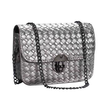 Girl Leather Mini Small Woven Pattern Shoulder Bag Handbag Messenger Gray - Intl