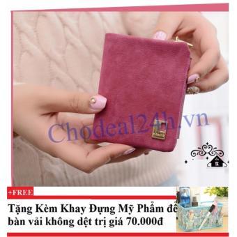 Ví cầm tay vuông nhỏ nhắn cho nữ CDVN02 (hồng đậm) + Tặng kèm khay đựng mỹ phẩm để bàn