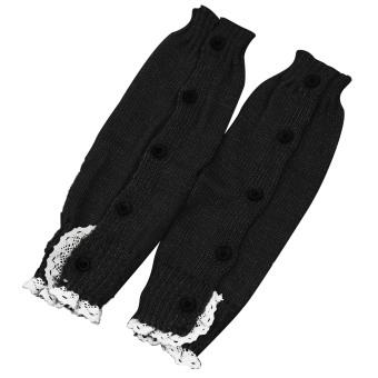 1 Pair of Kids Girls Long Crochet Knit Lace Leg Warmer Winter Leg Warmers Socks Boot Cuffs Socks Toppers Black - intl