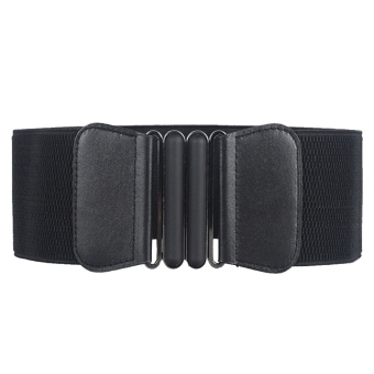 Women Fashion Metal Interlocking Buckle Adjustable Belts Elastic Cinch Waist Belt Strap for Women Black - intl