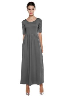 Cyber Meaneor Casual Medium Sleeve Solid Party Maxi Long Full Dress (Grey) - intl