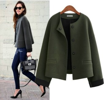 Fashion Casual Retro Military Green Jacket Suede Outerwear Women Coats(Army Green) - intl
