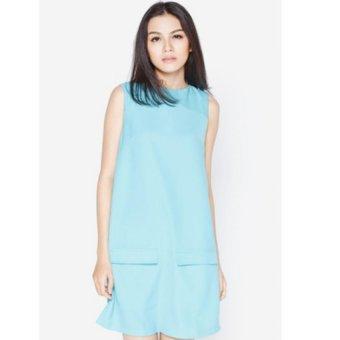 Đầm suông phối túi giả xanh ngọc Fadfashion F158008D