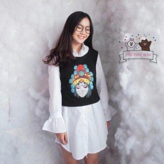 Set đầm sơ mi nữ ngắn tay dài ống loe cổ đứng họa tiết thêu thời trang trẻ trung Hàn QUốc Urban Horizon NB0008 (Trắng - Đen)