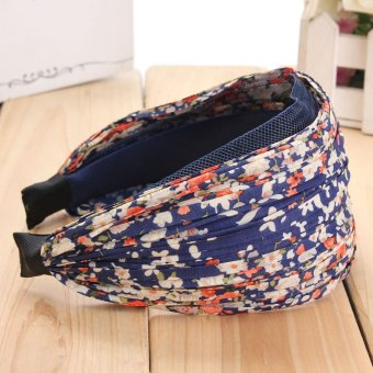 Women Lady Girl Retro Wide Pleated Floral Headband Alice Hair Band Wedding Party - intl