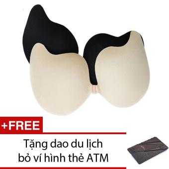 Bộ 02 áo ngực không dây dán nâng ngực Vbra + Tặng 1 dao du lịch bỏ ví hình thẻ ATM (Nâu)