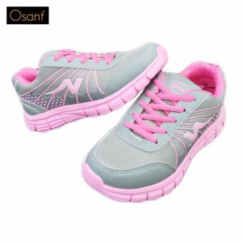 Giày Sneaker Thể Thao Siêu Nhẹ OSANT - SN006 (XÁM PHỐI HỒNG)