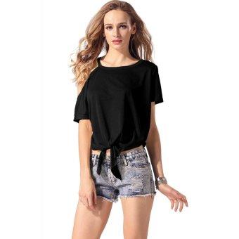 Sunweb Finejo Women Casual Loose O-Neck One Shoulder Short Sleeve Irregular Hem Blouse Tops ( Black ) - intl