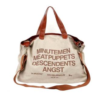 Women Girl Multi-purpose Canvas Big Casual Letters Pattern Shoulder Bag Crossbody Messager Bag Laptop Bag Handbag Beige
