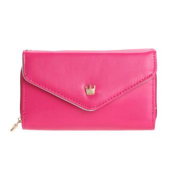 New Ladies PU Leather Short Zipper Matte Money Clip Wallet Multifunction(Rose red) - intl