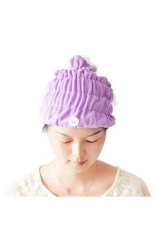 Moonar Women Lace Flower Soft Microfiber Hair Drying Hats Caps (Purple) - Intl