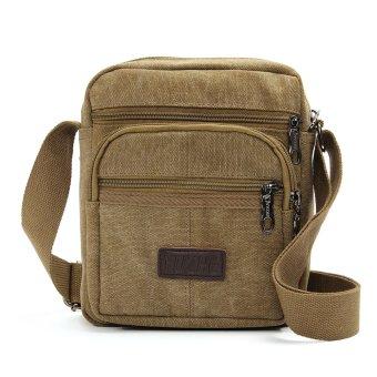 Men Vintage Canvas Leather School Shoulder Bag Satchel Military Messenger Retro Khaki - intl