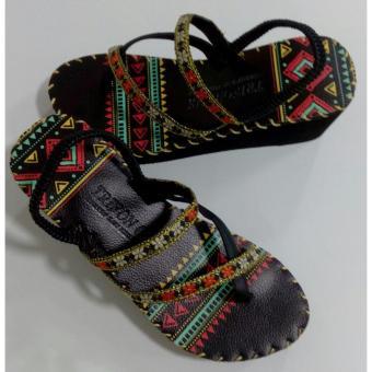 Sandal thổ cẩm cao gót (Đen) TFH8533 #37