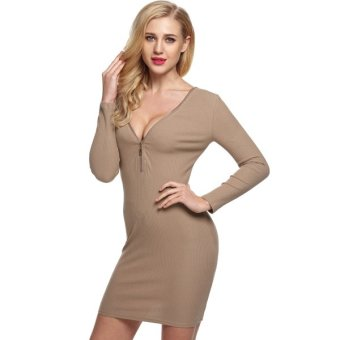 Cyber Zeagoo Lady Women's Casual V-Neck Long Sleeve Elastic Slim Knitting Bodycon Mini Dress (coffee) - Intl