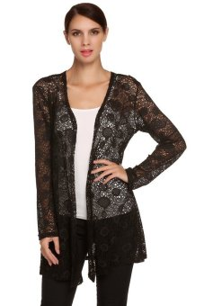 Cyber Meaneor Stylish Fashion Ladies Women's Long Sleeve Hollow Out Crochet Long Cardigan Tops ( Black ) - Intl