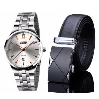 Bộ đồng hồ dây thép không gỉ Skmei 9070 (Bạc) và Thắt lưng da Tg001