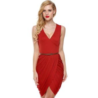 Cyber Meaneor Women Sleeveless Deep Wrap Slim Pencil Dress with Belt (Red) - Intl