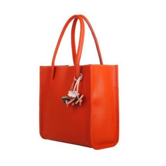 Fashion girls handbags leather shoulder bag candy color flowers totes Orange Free shipping - intl