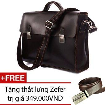 Túi xách nam da thật KNK KNK02 (Đen cafe) + Tặng 1 thắt lưng Zefer