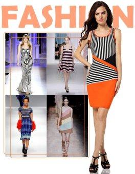 Sunweb New Stylish Ladies Women Casual Sleeveless Round Neck Black and White Striped Dress ( Black & White ) - intl