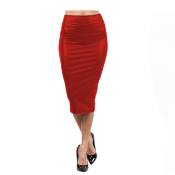 Fancyqube Casual Fashion High Waisted Faux Leather Pencil Skirt Red