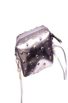 HKS Fashion Women Cute Messenger Bags Rivet Shoulder Bag Leather Crossbody Silver - intl