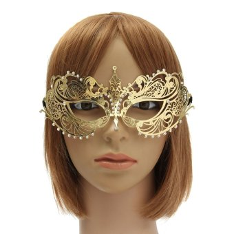 Laser Cut Filigree Metal Mardi Gras Prom Ball Venetian Masquerade Womens Mask Gold - intl